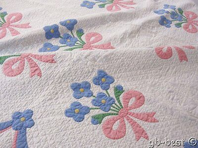 Cottage Charm! Dated 1932 Flower Bouquet Vintage QUILT Signed Anna Morgan