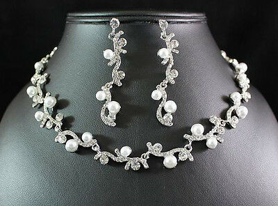 Vine Austrian Rhinestone Crystal Necklace Earrings Set Bridal Wedding N1584