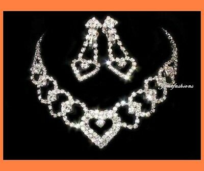 Sweetheart Clear Austrian Crystal Rhiestone Necklace Earrings Set Bridal S108