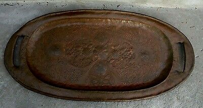 Antique Stickley Roycroft Era: Arts & Crafts Mission Period Hammered Copper Tray