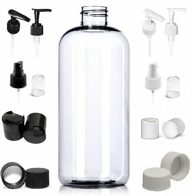 6 Pack Empty 10 oz. Clear PET Plastic Boston Round Bottles with Caps BPA free 8