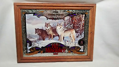"Old Milwaukee Beer Mirror ""the Timber Wolves""  #5 Of The Wildlife Series"