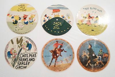 Guild Mid-Century Lot Of 6 Children's Picture Vinyl Disks 1940's Rare Nice