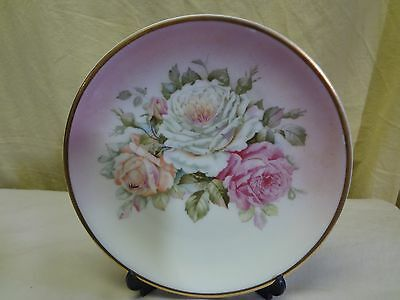 """VTG CT Altwasser Silesia Hand Painted Porcelain Plate Pink & White Roses 8.25"""""""