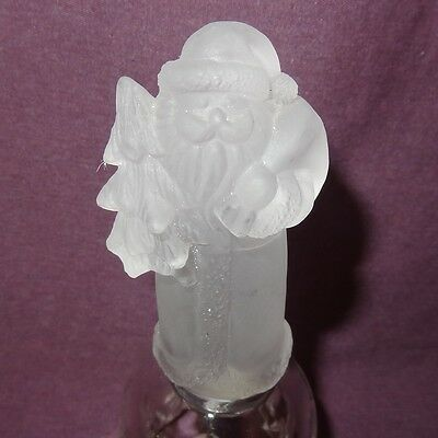 "Santa Claus Frosted Glass Bell Christmas Tree  5"" 2002 Holiday"