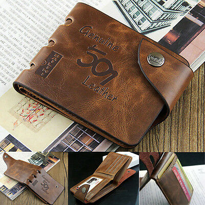USA Men's Genuine Leather Bifold Wallet Credit/ID Card Holder Slim Coin Purse