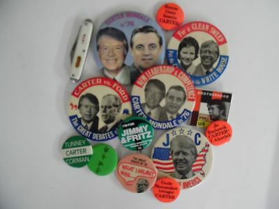 1976 Carter Mondale Presidential Campaign Pinback Button Lot of 14 Vintage VG