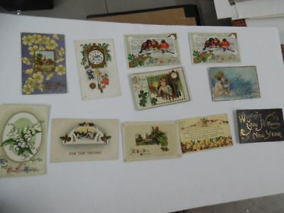 c.1910s New Year's Day Holiday Greeting Postcard Lot of 11 Antique