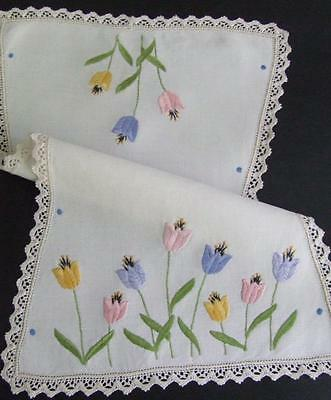 Colourful Tulips - Beautiful Hand Embroidered Vintage Centre - Lace Edging