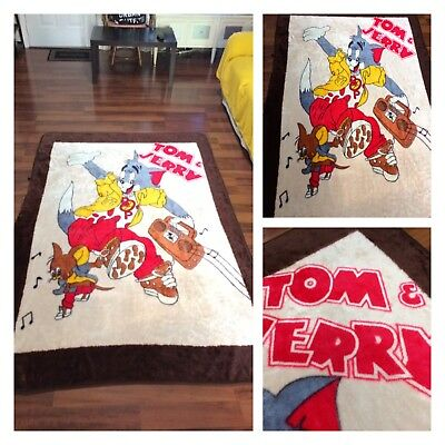"Tom And Jerry Heavy Soft Blanket Cartoon Rare Vintage 60"" x 88 Music Boom Box"
