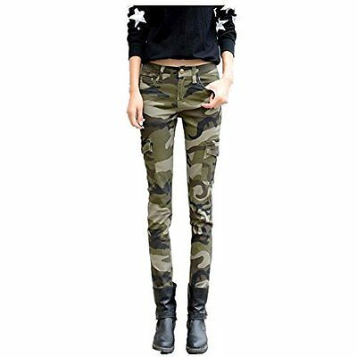 NASKY Women's Camo Army Slim Stretch Jeans Tight Pants Leggings Cargo Pencil Pan