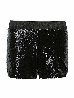 PERSUN Women's All-over Sequin Split Side Shorts,Black,X-Small, New