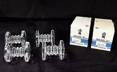"""Waterford Crystal 2 1/2"""" Knife Rests Vintage Set of 4 w/Original Boxes, Stickers"""