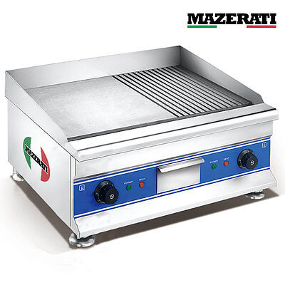 Commercial Electric Grill Flat Griddle BBQ Cooking Iron Flat & Groove Mazerati