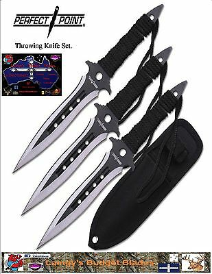 """Perfect Point Throwing Knives. 3pc Set 7.5"""" Overall."""