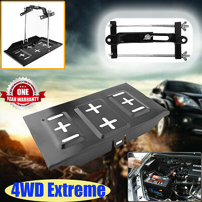 Heavy Duty Metal Car Battery Tray Hold Down Clamp Bracket Kit Cycle Universal AU