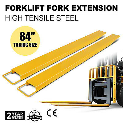 """84x5.5"""" Forklift Pallet Fork Extensions Pair 2 Thickness Industrial Slide Clamp"""