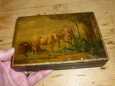 A Fine Early 19th Century Hand Painted Country Scene Toleware Box c1820/40