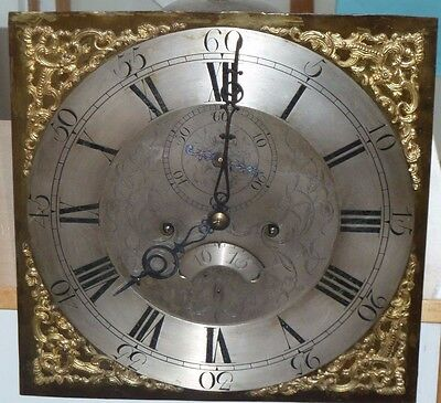 "Antique 8 day longcase movement with 12"" brass dial - for restoration/spares"