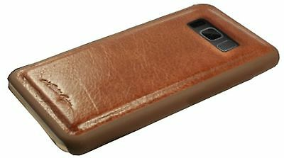 Alston Craig Genuine Leather Magnetic Wallet Case for Galaxy S8 Plus - Brown