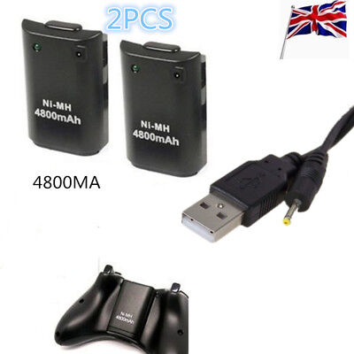 2pcs 4800mAh Rechargeable BatteryPack 1.8M Charge Cable for Xbox 360 Controller