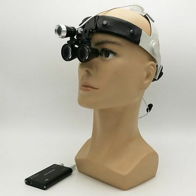 Dental Medical Surgical Binocular Loupes 3.5X Leather Headband + LED Headlight
