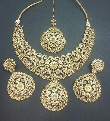 New bollywood necklace with earrings and tikka set in LCT