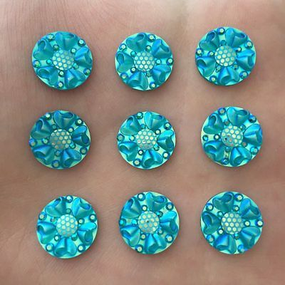 DIY 30PCS 12mm AB Resin round FlatBack flower Rhinestone Applique wedding Button