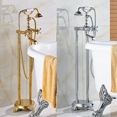 Free Standing Claw-foot Bathtub Faucet Floor Mounted Tub Filler Mixer Tap Set