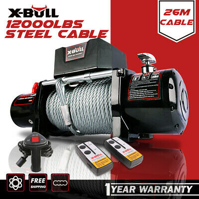 X-BULL 12000LBS Electric Winch Wireless Steel Cable 12V 5454kg 2x Remote 4WD