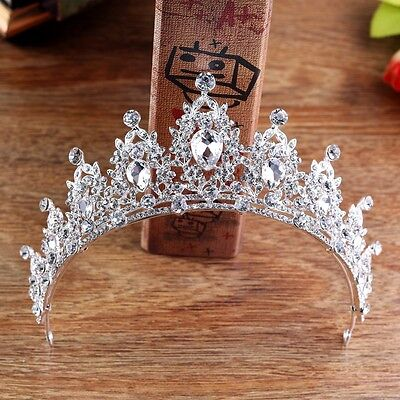 6.5cm High Clear Drip Crytal Leaf Wedding Bridal Party Pageant Prom Tiara Crown