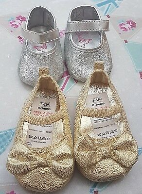 Baby girl pram shoes 0-3 months silver and gold sparkle glitter f&f