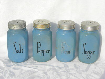 4 Vint. Hocking Dep. Glass Fired-On Blue Salt, Pepper, Flour & Sugar Shakers