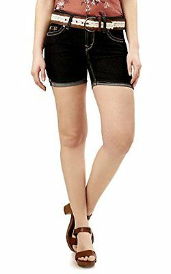 WallFlower Jeans Juniors Legendary Belted Midthigh Shorts in Elle Size:5, New