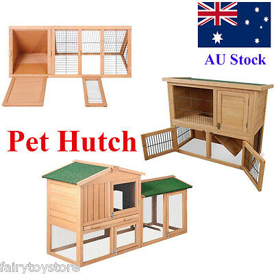 Large Wood Pet Hutch Rabbit Chicken Coop Guinea Pig Ferret Cage Hen Chook House