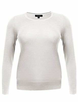 Long Sleeve Crew Neck Classic Sweater Various Colors White Size 1XL, New