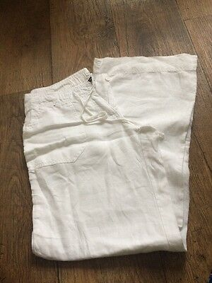 Woman's Atmosphere White Linen Trousers Size 8