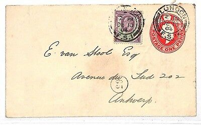 KK104 1904 London Antwerp Belgium Postal Stationery {samwells-covers}