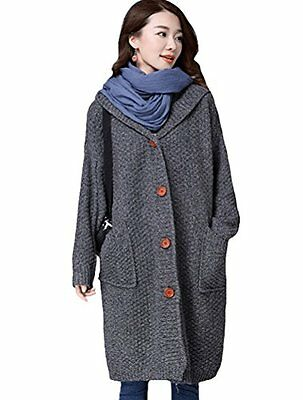 Mordenmiss Women's Winter Knitted Sweater Cardigan Coat Style 2-L-Gray, New