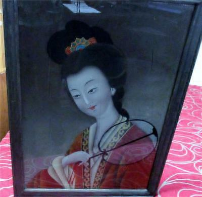 Vintage/antique Hand Painted Oriental Reverse Painting On Glass