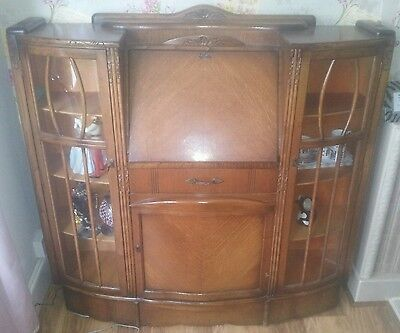 Antique Art Deco writing bureau cabinet
