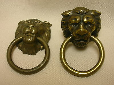 "2 Vintage Cast Metal Lion Drawer Pulls Hardware  Circle Pull 1 1/4"" X 2"""