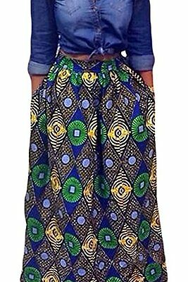 Women African Floral Print Casual A Line Maxi Skirt XL muticolored02, New