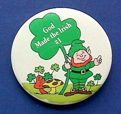 BUY1&GET1@50%~Russ PIN St Patrick BUTTON-LEPRECHAUN God Made Irish #1 Vtg