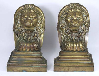 Pair of Rare Antique Cast Brass Lion Head Salvaged Fireplace Fender Ends