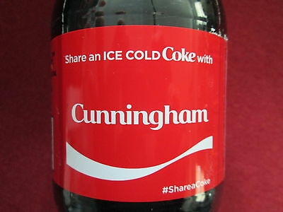 Brand New 2017 Share a Coke with Cunningham-20 oz Collectible Coca-Cola Bottle