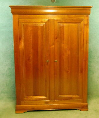 Large French Cherry Wood Wardrobe - Armoire