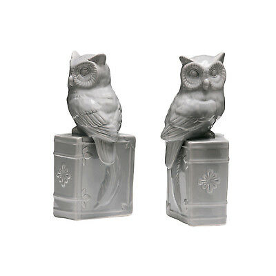 2 Piece Ceramic Grey Owl On Book Figurines Statue Bookends Set Book Holder Shelf