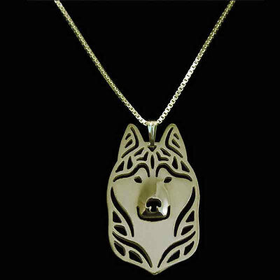 Siberian Husky Pendant Necklace Gold Tone  ANIMAL RESCUE DONATION