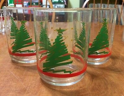 Vintage LIBBEY GLASS Crystal Tumbler Glasses Set 3 Christmas Tree Design
